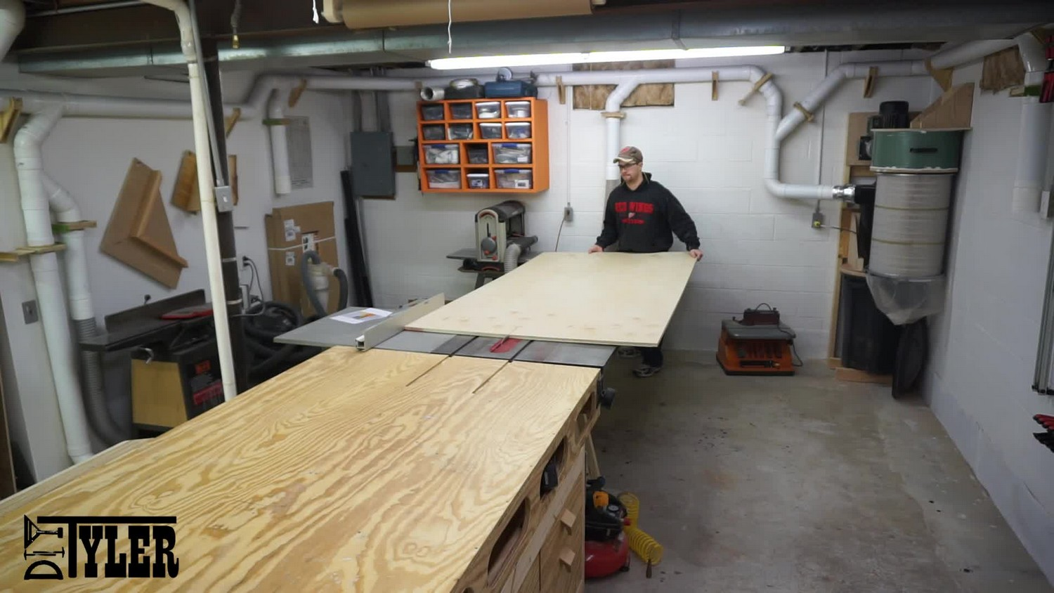 Ripping plywood for media cabinet on tablesaw